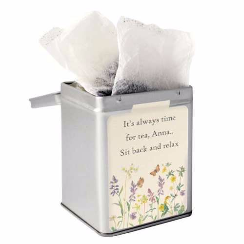 Personalised Small Tea Tin / Tea Caddy - Wild Flowers