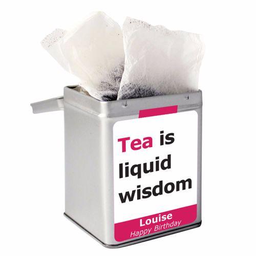 Personalised Small Tea Tin / Tea Caddy - Liquid Wisdom
