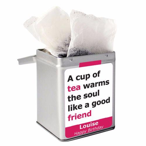 Personalised Small Tea Tin / Tea Caddy - Warm Cup of Tea