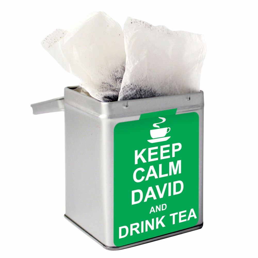 Personalised Small Tea Tin / Tea Caddy - Keep Calm