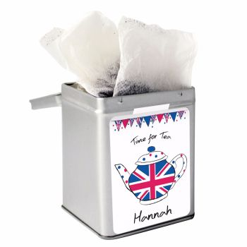 Personalised Small Tea Tin / Tea Caddy - Union Jack Teapot