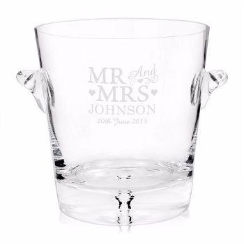 Personalised Mr & Mrs Glass Ice Bucket