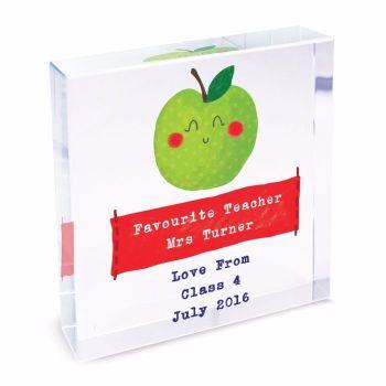 Personalised Crystal Token - Large - Teacher's Apple - Thank You Teacher Gift