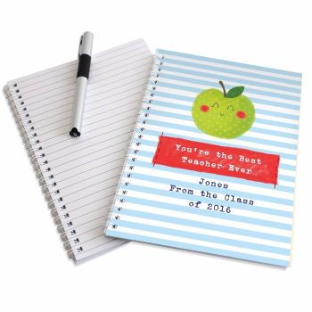Personalised Thank You Teacher - Happy Apple Note Book Teacher Gift, Teaching Assistant