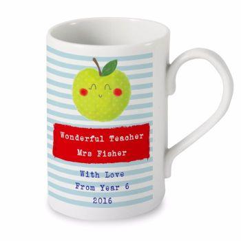 Personalised Thank You Teacher Gift Happy Apple SLIM MUG Teacher, Teaching Assistant