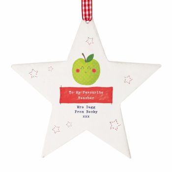 Personalised Thank You Teacher Gift Apple Wooden Star, Teacher Gift, Teaching Assistant Gift