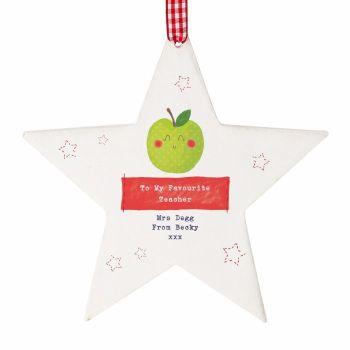 Personalised Thank You Teacher Gift Apple Wooden Star, Teacher Gift, Teaching Assistant Gift
