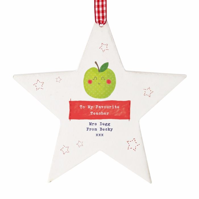 Personalised Thank You Teacher Gift Apple Wooden Star, Teacher Gift, Teachi