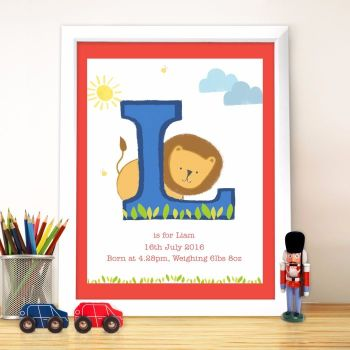 Personalised Initial Poster Frame - Childrens Frame, New Baby Gift, Christening Gift