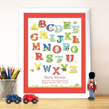 Personalised Alphabet Poster Frame - Childrens Frame, New Baby Gift, Christening Gift