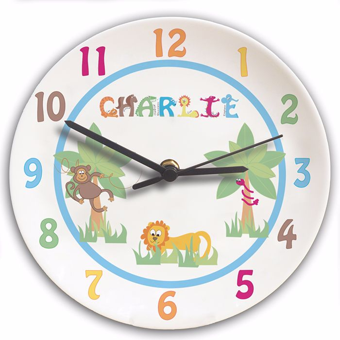 Personalised Animal Alphabet Boys Clock - Childrens Clock, New Baby Gift, C