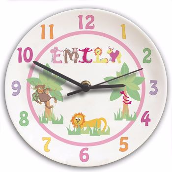 Personalised Animal Alphabet Girls Clock - Childrens Clock, New Baby Gift, Christening Gift