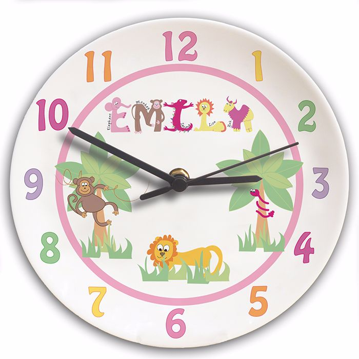 Personalised Animal Alphabet Girls Clock - Childrens Clock, New Baby Gift,