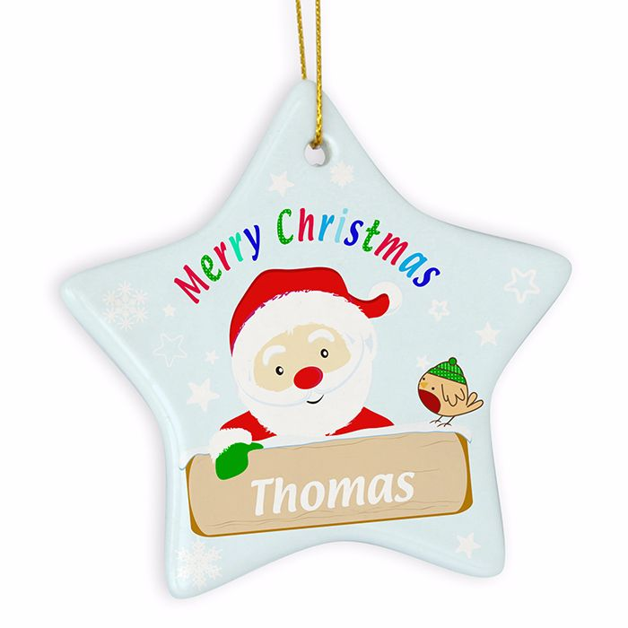 Personalised SANTA Ceramic Star Christmas Tree Decoration