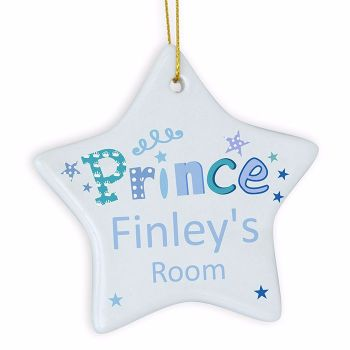 Personalised PRINCE Ceramic Star Christmas Tree Decoration