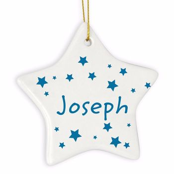 Personalised STARS Ceramic Star Christmas Tree Decoration