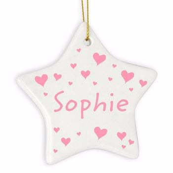 Personalised HEARTS Ceramic Star Christmas Tree Decoration