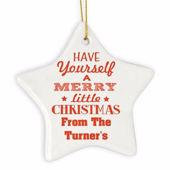 Personalised MERRY LITTLE CHRISTMAS Ceramic Star Christmas Tree Decoration