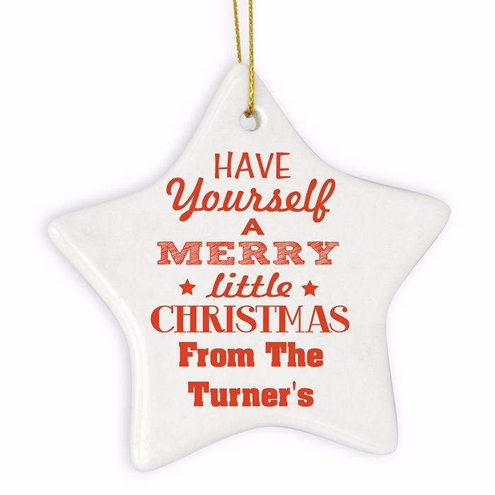 Personalised MERRY LITTLE CHRISTMAS Ceramic Star Christmas Tree Decoration