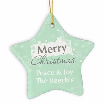 Personalised SNOWFLAKE Ceramic Star Christmas Tree Decoration