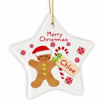 Personalised GINGERBREAD MAN Ceramic Star Christmas Tree Decoration