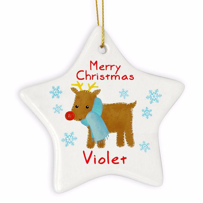 Personalised REINDEER Ceramic Star Christmas Tree Decoration
