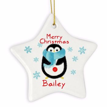 Personalised PENGUIN Ceramic Star Christmas Tree Decoration