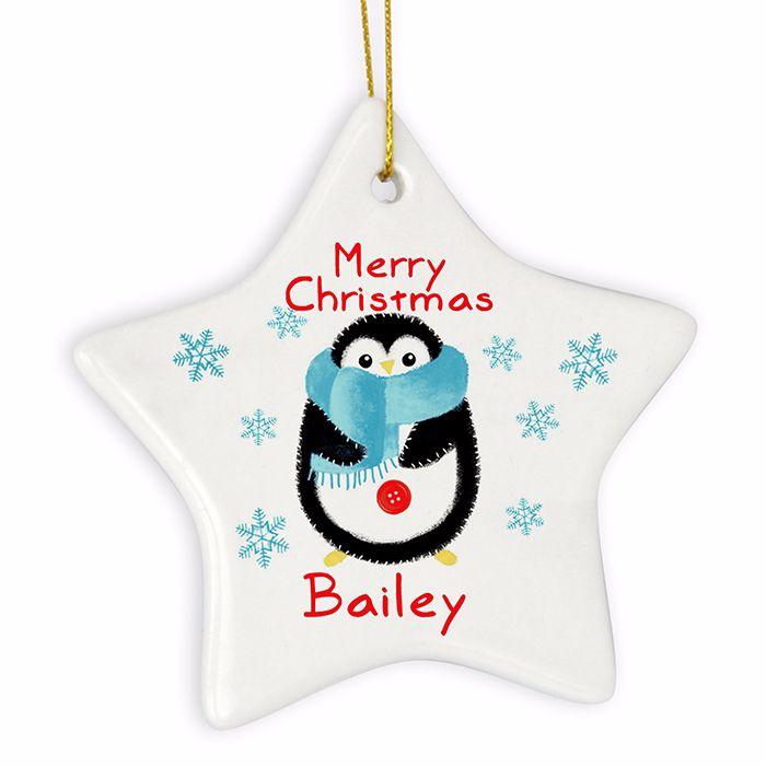 Personalised PENGUIN Ceramic Star Christmas Tree Decoration