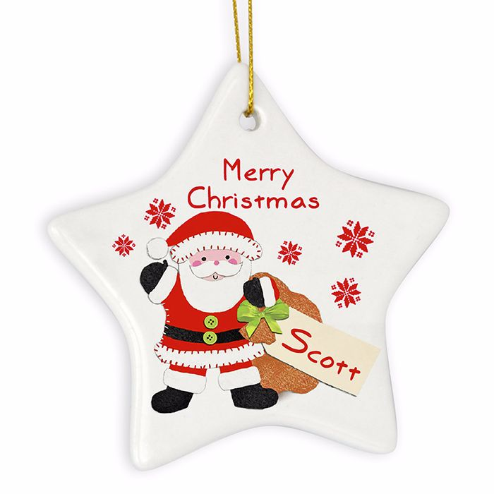 Personalised SANTA Ceramic Star Christmas Tree Decoration
