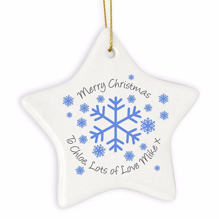 Personalised SNOWFLAKE Ceramic Star Christmas Tree Decoration