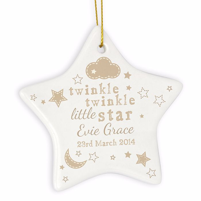 Personalised TWINKLE TWINKLE Ceramic Star Christmas Tree Decoration