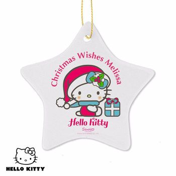 Personalised HELLO KITTY Ceramic Star Christmas Tree Decoration
