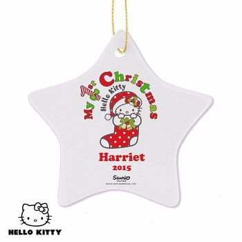 Personalised HELLO KITTY MY 1ST CHRISTMAS Ceramic Star Christmas Tree Decoration