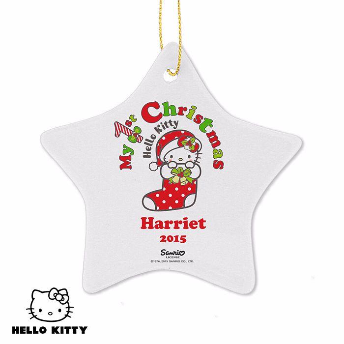 Personalised HELLO KITTY MY 1ST CHRISTMAS Ceramic Star Christmas Tree Decor