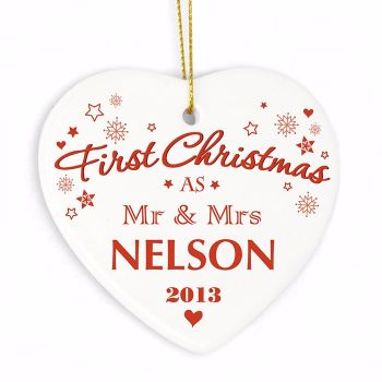 Personalised NEW COUPLE 1st CHRISTMAS Ceramic Heart Christmas Tree Decoration