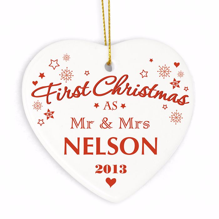 Personalised NEW COUPLE 1st CHRISTMAS Ceramic Heart Christmas Tree Decorati