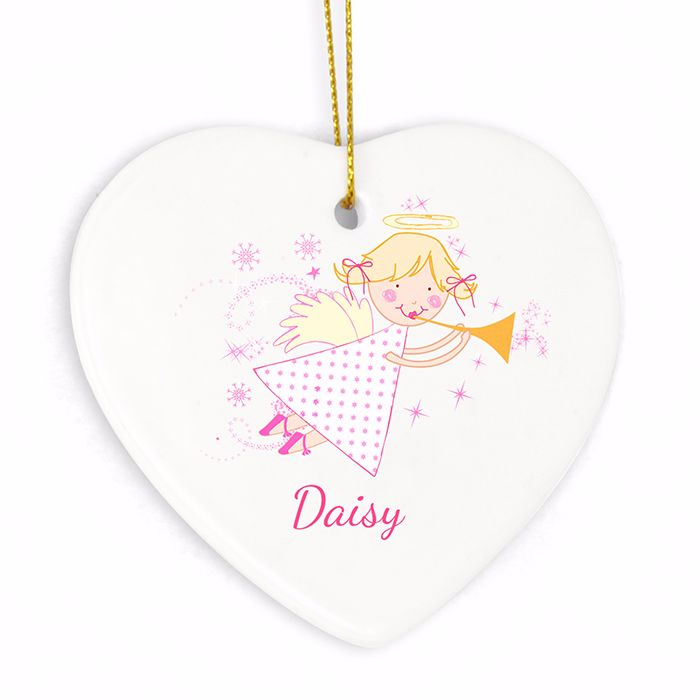 Personalised ANGEL Ceramic Heart Christmas Tree Decoration