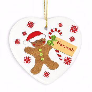 Personalised GINGERBREAD MAN Ceramic Heart Christmas Tree Decoration