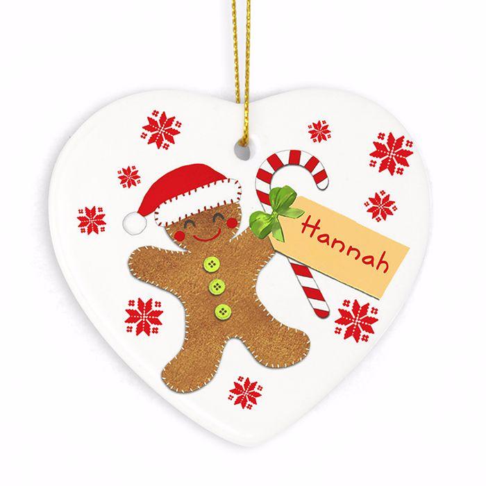 Personalised GINGERBREAD MAN Ceramic Heart Christmas Tree Decoration