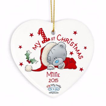 Personalised ME TO YOU MY 1st CHRISTMAS Ceramic Heart Christmas Tree Decoration