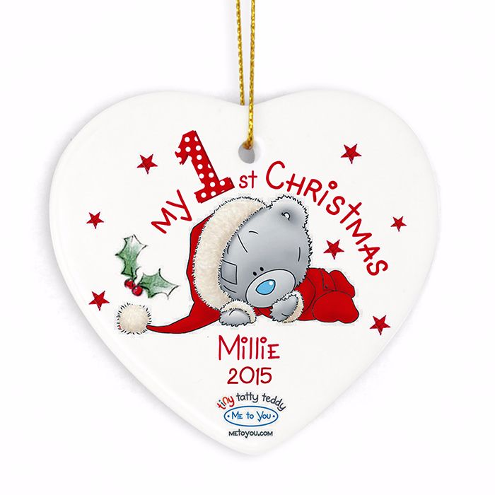 Personalised ME TO YOU MY 1st CHRISTMAS Ceramic Heart Christmas Tree Decora