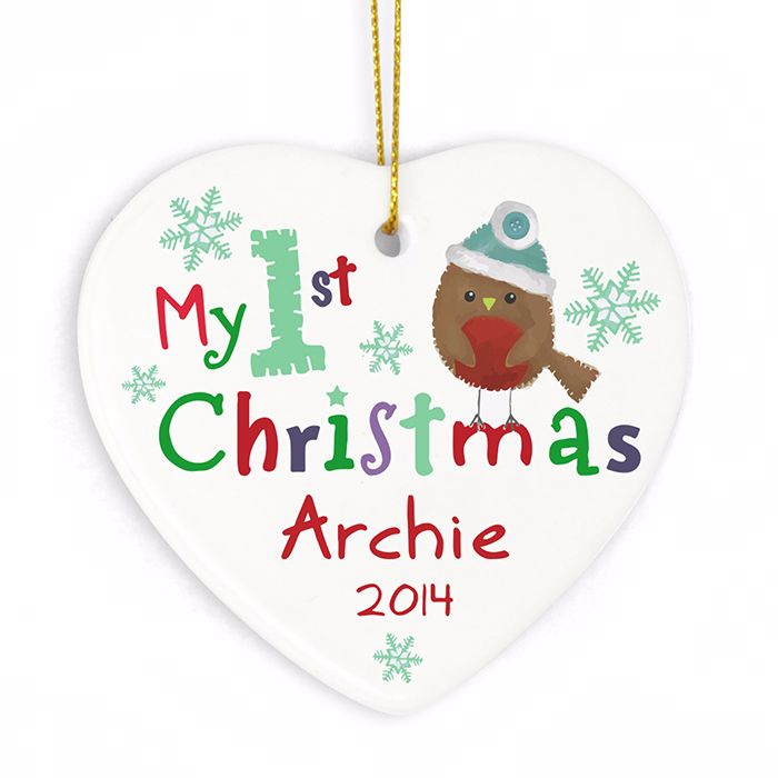 Personalised MY 1st CHRISTMAS Ceramic Heart Christmas Tree Decoration