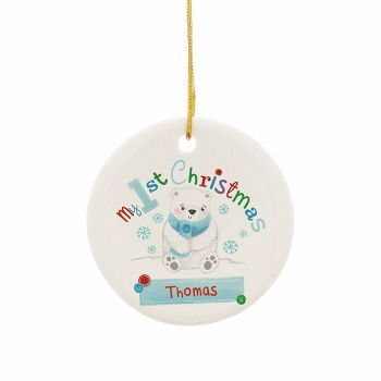Personalised POLAR BEAR MY 1st CHRISTMAS Ceramic Round Christmas Tree Decoration