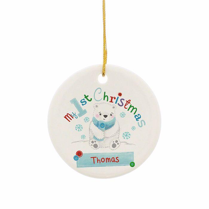 Personalised POLAR BEAR MY 1st CHRISTMAS Ceramic Heart Christmas Tree Decor