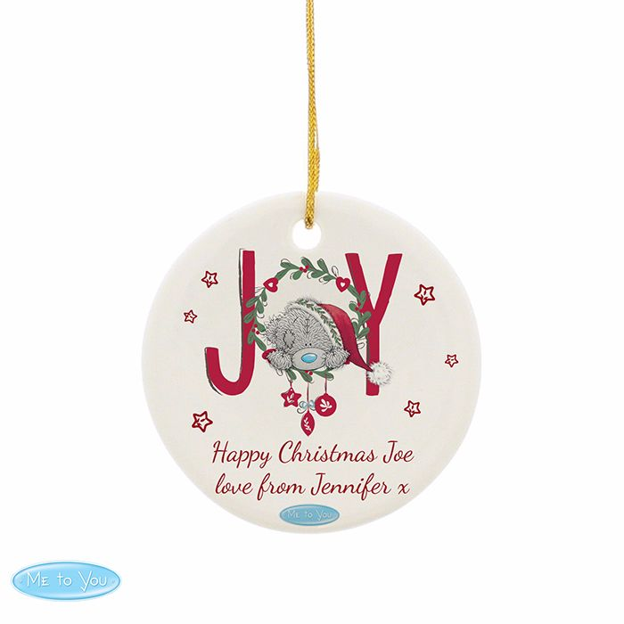 Personalised ME TO YOU JOY Ceramic Heart Christmas Tree Decoration