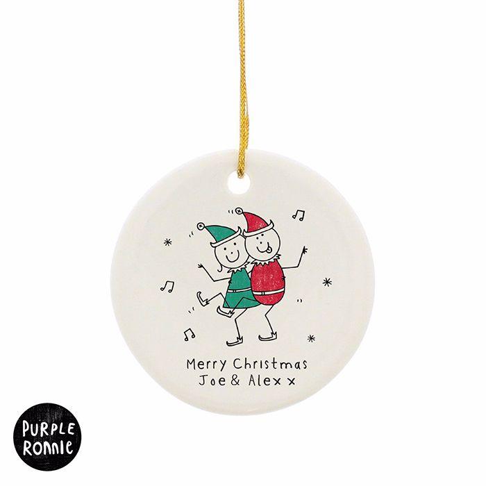 Personalised PURPLE RONNIE ELVES Ceramic Round Christmas Tree Decoration