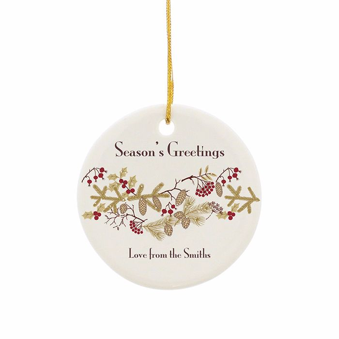 Personalised FLORAL CHRISTMAS Ceramic Round Christmas Tree Decoration