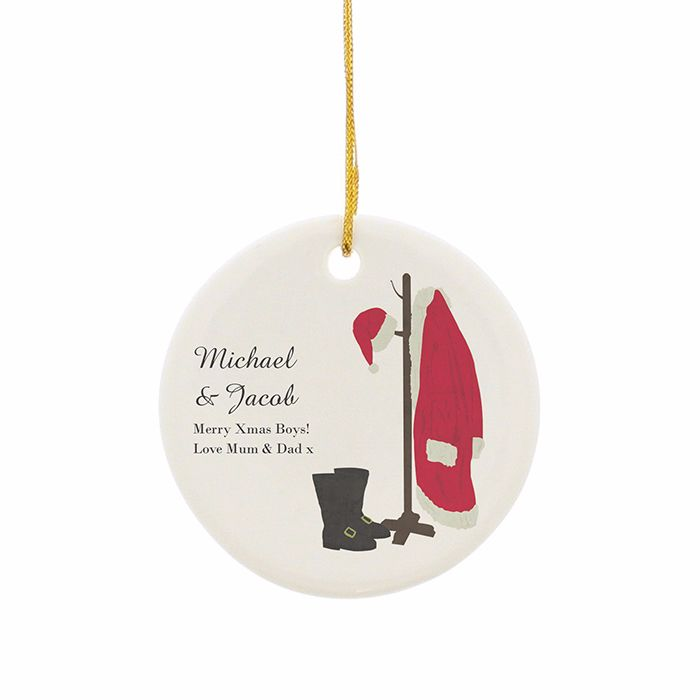 Personalised SANTAS HOME CHRISTMAS Ceramic Round Christmas Tree Decoration