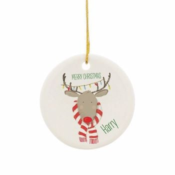 Personalised REINDEER CHRISTMAS Ceramic Round Christmas Tree Decoration