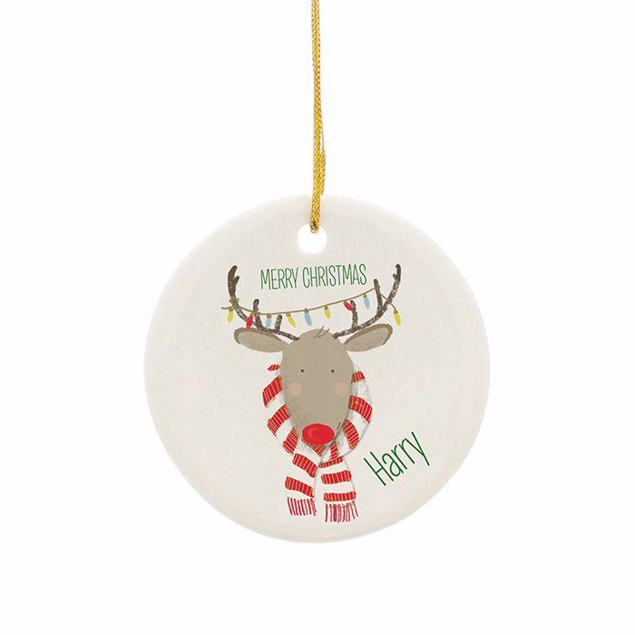 Personalised REINDEER CHRISTMAS Ceramic Round Christmas Tree Decoration